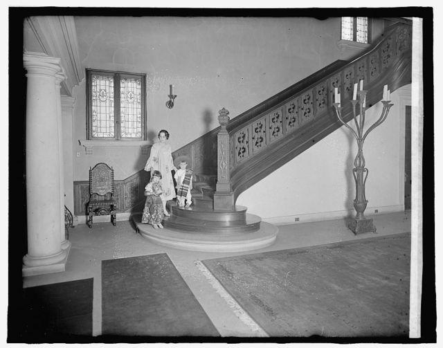 Mexican Embassy, [Washington, D.C.]; Emilia & Jose Telley on staircase