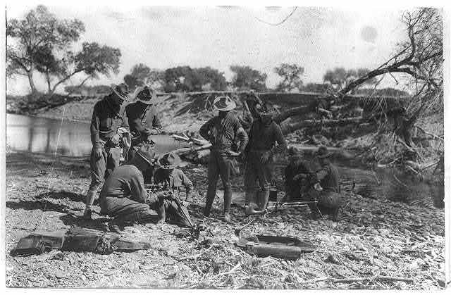 Mexican Revolution - 1916. Machine gun platoon of the 16th Infantry - gun inspection and firing near Casa Grande, Mex.