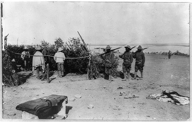 Mexican Revolution - 1916. Villista prisoners gathered in by American soldiers near Namiquipa, Mexico