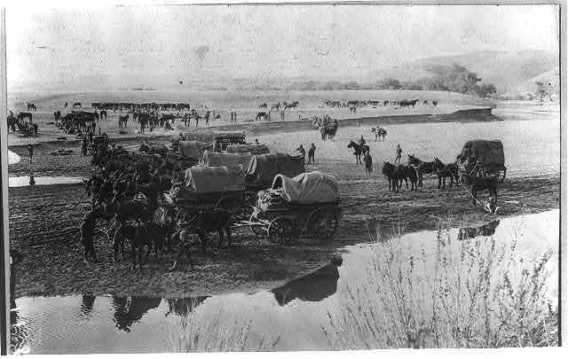 Mexico - campaign against Villa - 1916. An Army wagon pack train arriving on outskirts of Las Cruces, Mexico