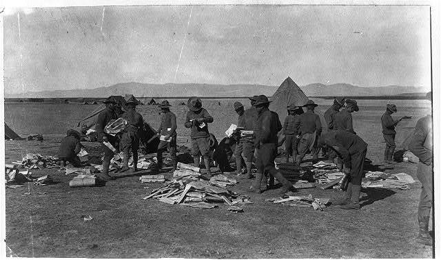 Mexico - U.S. campaign after Villa - 1916. The first mail from U.S. in two weeks at American Field Hdqts. near Namiquipa, Mex.