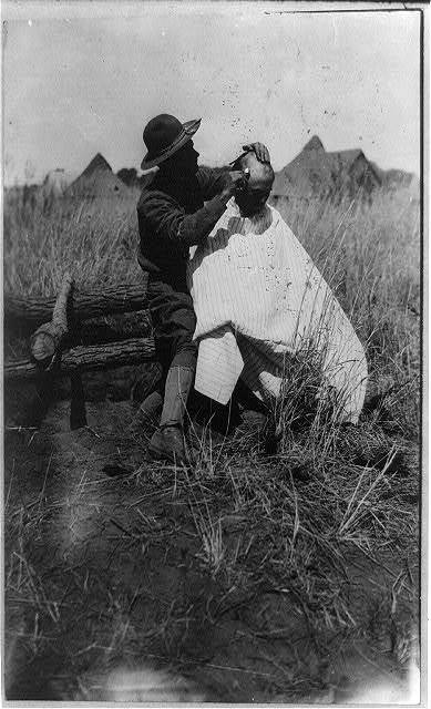 Mexico - U.S. campaign against Villa - 1916. The Barber of the Brigade Hdqts. near Casa Grande, Mexico
