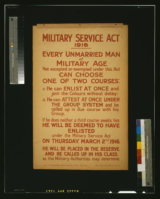 Military Service Act 1916 / printed by David Allen & Sons Ld., Harrow, Mdx.