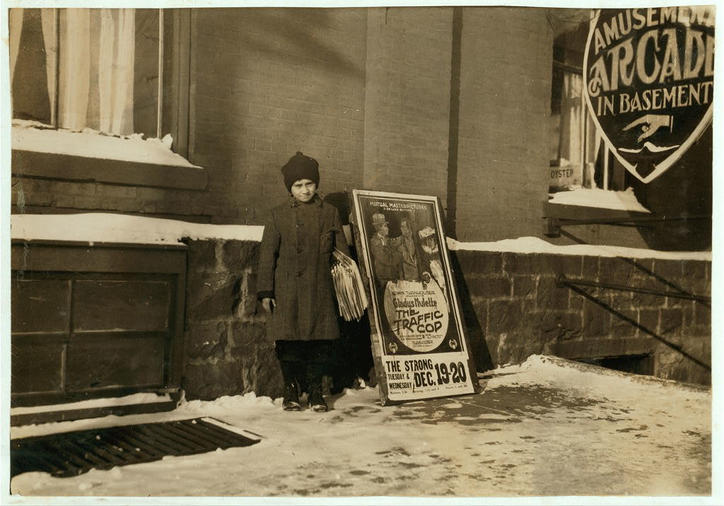 Morris Levine, 212 Park Street. 11 years old and sells papers every day--been selling five years. Makes 50 cents Sundays and 30 cents other days.  Location: Burlington, Vermont / Lewis W. Hine.