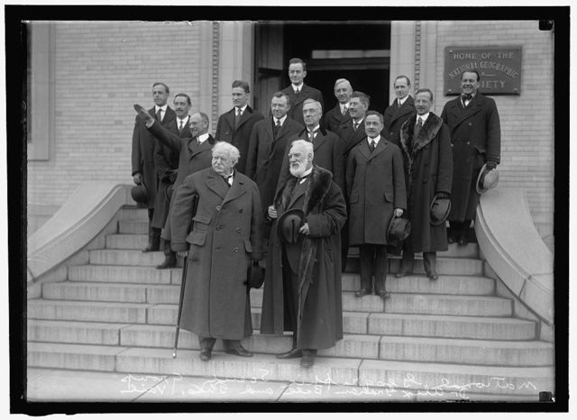 NATIONAL GEOGRAPHICAL SOCIETY. ANNIVERSARY OF BELL TELEPHONE. FRONT: THEODORE N. VAIL AND ALEXANDER GRAHAM BELL; BACK OF BELL, THOMAS A WATSON, ASSOC. WITH BELL IN EXPERIMENTS. DIAGONALLY UPWARD, RIGHT: J.J. CARTY; G.H. GROSVENOR; J. O. LaGORCE