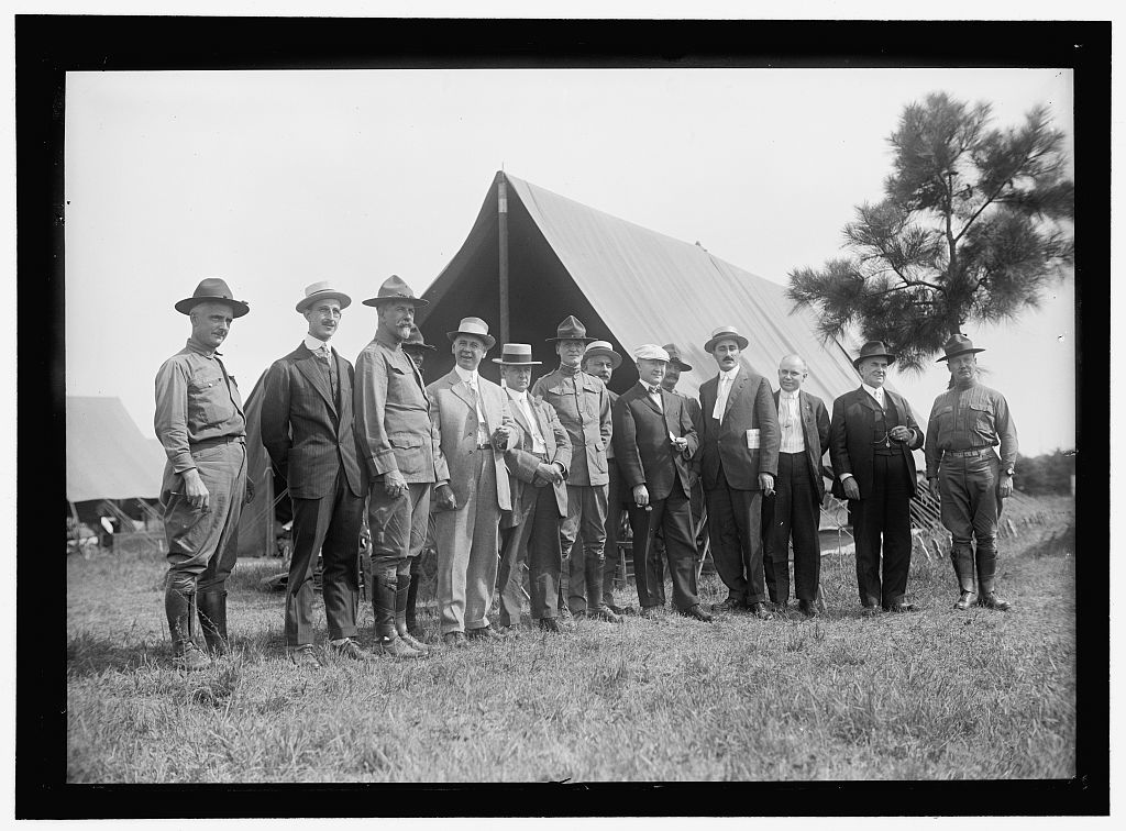 NATIONAL GUARD OF D.C. M. AND M. ASSN. OF D.C. ON VISIT TO D.C.N.G. IN CAMP AT COLONIAL BEACH. FRONT: BOB FEATHERSTONE; UNIDENTIFIED; COL. WILLIAM E. HARVEY; ROSS P. ANDREWS; UNIDENTIFIED; ANTON STEPHAN; C.J. COLUMBUS; RICHARD L. LAMB; M.A. LEASE; UNIDENTIFIED; HARRY COOPE.; 3 IN REAR UNIDENTIFIED