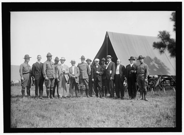 NATIONAL GUARD OF D.C. M. AND M. ASSN. OF D.C. ON VISIT TO D.C.N.G. IN CAMP AT COLONIAL BEACH. FRONT: BOB FEATHERSTONE; UNIDENTIFIED; COL. WILLIAM E. HARVEY; ROSS P. ANDREWS; UNIDENTIFIED; ANTON STEPHAN; C.J. COLUMBUS; RICHARD L. LAMB; M.A. LEASE; UNIDENTIFIED; HARRY COOPE. 3 IN REAR UNIDENTIFIED