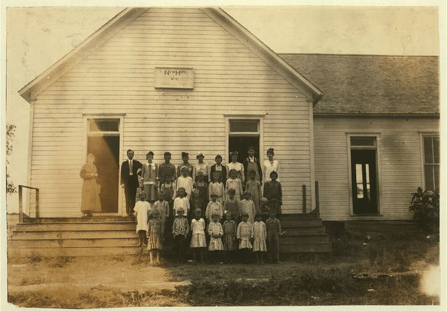 New Hope School #41. 4 miles northwest of Shawnee. 31 present. Opened October 2nd--8 months term. Principal, Mr. J.H. Harrison, P.O. Route 6, Shawnee, says there ought to be twice that number present and will be after cotton picking is over. Lewis W. Hine. See W.H. Swift Report.  Location: Potawotamie County, Oklahoma.
