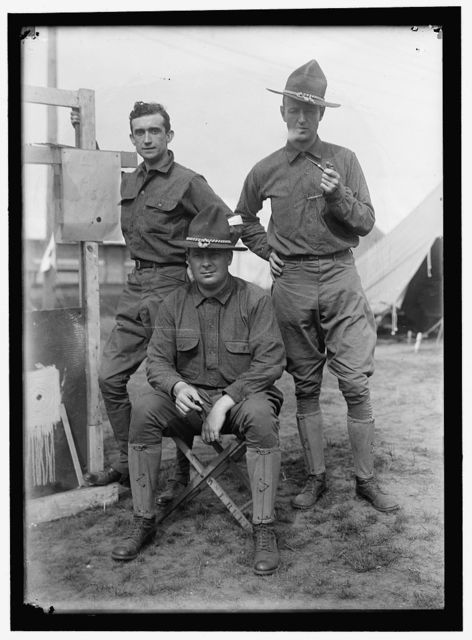 PLATTSBURG RESERVE OFFICERS TRAINING CAMP. LEFT, TOM SHIPP; CENTER, PHIL PATCHEN