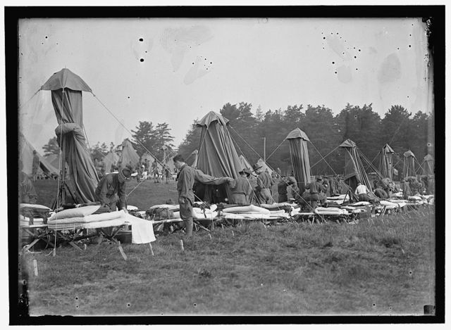 PLATTSBURG RESERVE OFFICERS TRAINING CAMP. PITCHING TENTS