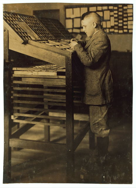 Printing and typesetting. See 4168.  Location: Fall River, Massachusetts / Lewis W. Hine.