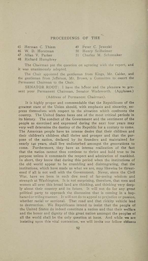 Proceedings of the Republican state convention of the state of New York, held at Carnegie Hall, New York city, February 15-16, 1916 ..