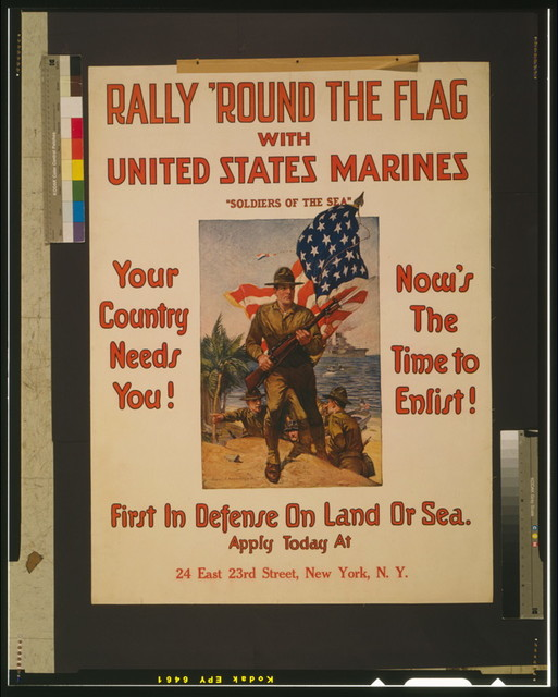"Rally 'round the flag with United States Marines ""Soldiers of the sea"" First in defense on land or sea / / Sidney H. Riesenberg 1916."