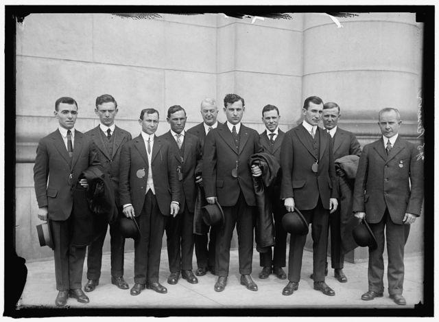 RESERVE ARMY, U.S. FRONT: MORRIS KLAIF; ANTHONY SCHETTINO; REP. A.P. GARDNER OF MASSACHUSETTS; SPONSOR OF GROUP, ISSEA SOHN; HUGO L. ANDERSON. REAR: CHARLES NEILCERT, MORRIS BORKIN; THOMAS KELLY; JOHN CARAMALI; WILLIAM BORISKIN. AS IN 5090, DIFFERENT ORDER