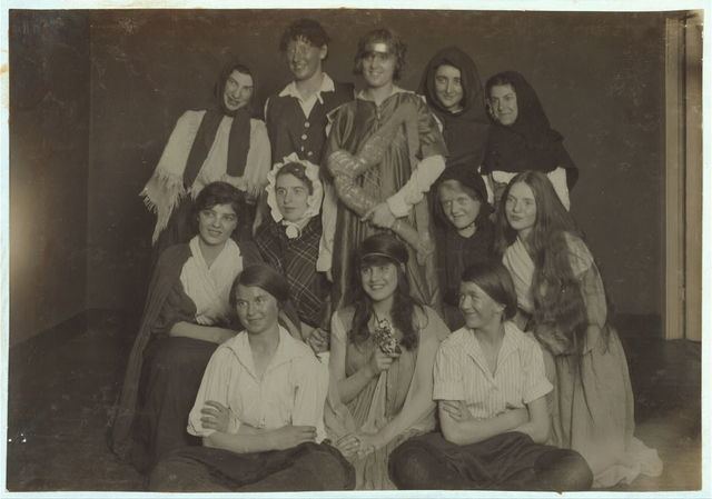 """Scenes from """"The Twig of Thorn"""" given by a club of working girls in King Philip Settlement. Most of them are weavers. All girls.  Location: Fall River, Massachusetts / Lewis W. Hine."""