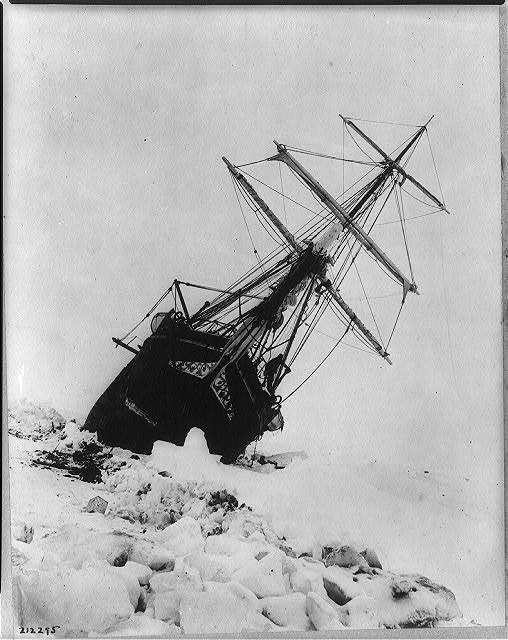 Shackleton's expedition to the Antarctic Endurance squeezed between an ice jam.