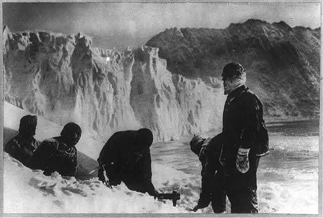 Shackleton's expedition to the Antarctic ice hole on Elephant Island where the lost party first attempted to live.