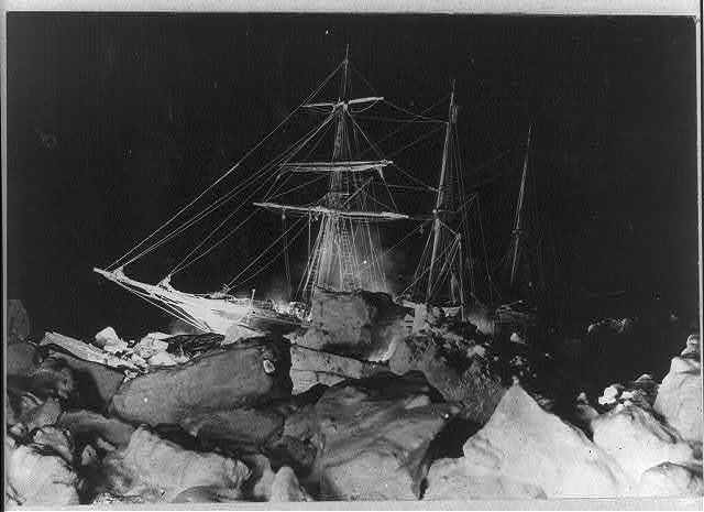 Shackleton's expedition to the Antarctic winter flashlight scene in the Weddell Sea, showing Endurance stuck fast.
