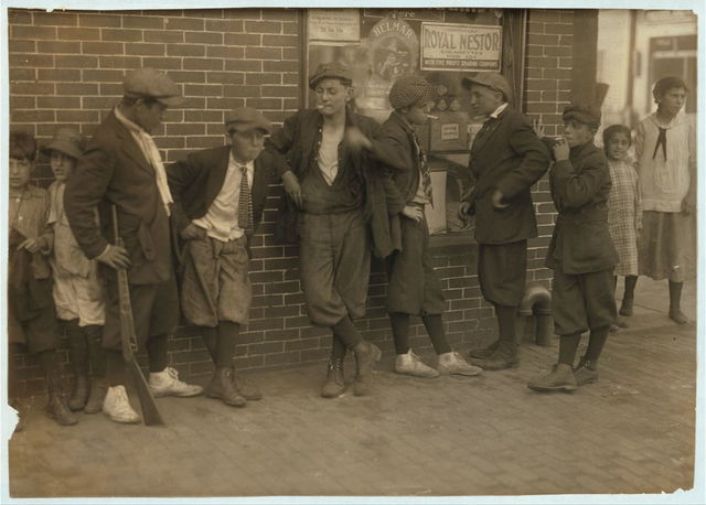 [Street gang - cor[ner] Margaret & Water Streets - 4:30 P.M.]  Location: Springfield, Massachusetts. / [Lewis W. Hine]