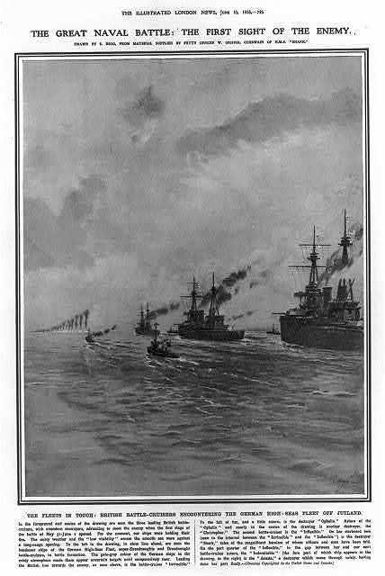The great naval battle: the first sight of the enemy. The fleets in touch: British battle-cruisers encounterng the German high-seas fleet off Jutland