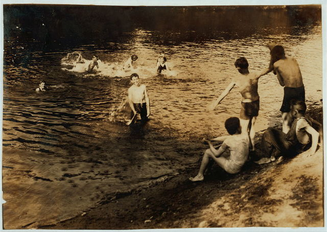 The Swimming Hole. Group of boys - 14 to 16 years - just returned from working in tobacco at Southwick, Mass., on Galpin's farm.  Location: Westfield, Massachusetts / Lewis W. Hine.