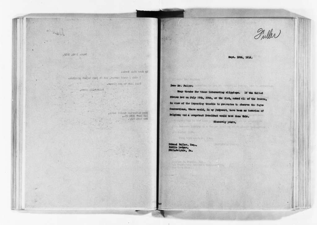 Theodore Roosevelt Papers: Series 3: Letters Sent, 1888-1919; Subseries 3A: Carbon Copies of Letters Sent, 1894-1919; Vol. 96, 1916, Aug. 21-Oct. 3