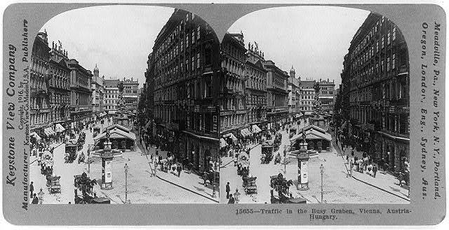 Traffic in the busy Graben, Vienna, Austria-Hungary