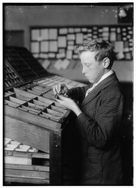 Typesetting. See 4168. Location: Fall River, Massachusetts. / Lewis W. Hine.