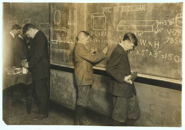 Vocational Printing. Math. class. See 4168.  Location: Fall River, Massachusetts / Lewis W. Hine.