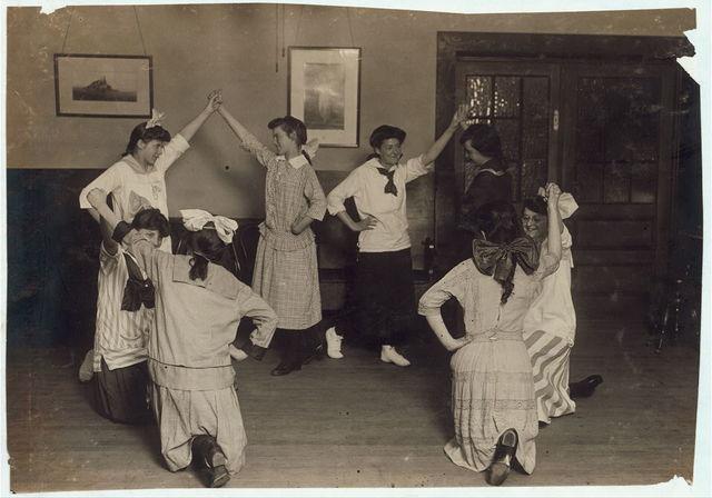 Woman's Union, Folk dancing. Working girls.  Location: Fall River, Massachusetts / Lewis W. Hine.