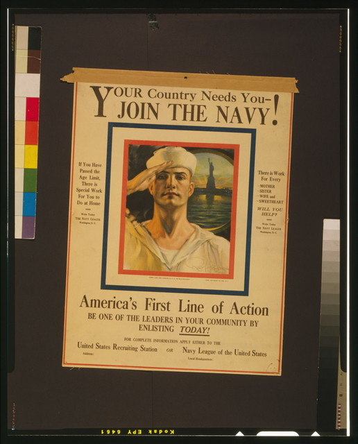 Your country needs you - join the Navy! / Rolf Armstrong 1916.