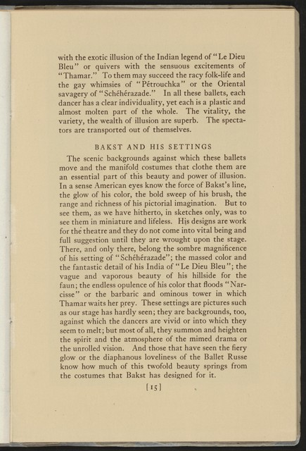The  Metropolitan Opera Company presents Serge de Diaghileff's Ballet Russe, 1916
