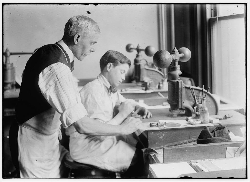 14 Year Old Fred Cutting Dies For A New Job Embossing Shop Of Harry C Taylor 61 Court Street Location Boston Massachusetts Lewis W Hine Picryl Public Domain Image
