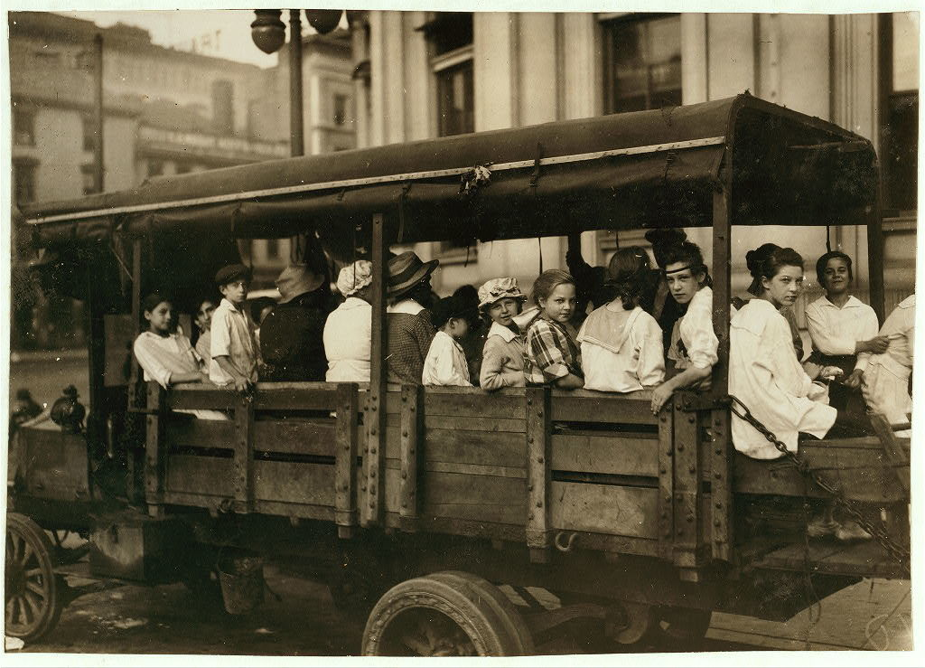 6:00 A.M. at Post Office Square, Truck load of tobacco workers bound for American Sumatra Tobacco Farm, S[outh] Windsor. They return about 7:00 P.M.  Location: Hartford, Connecticut / L.W. Hine.