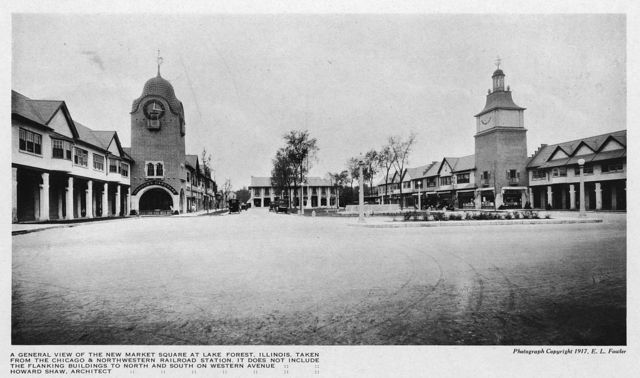 A general view of the new market square at Lake Forest, Illinois, taken from the Chicago & Northwestern Railroad station ...