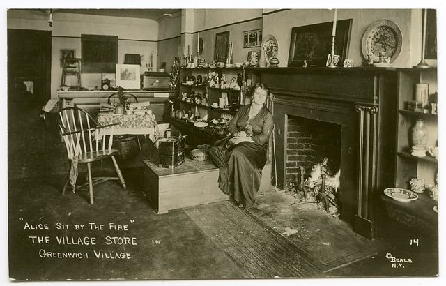 """""""Alice sit by the fire"""" The Village Store in Greenwich Village."""