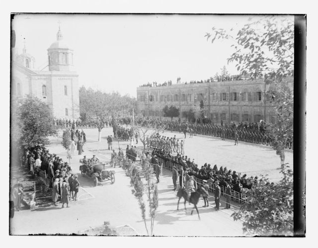 Allenby's official entry with military review at Russian Compound. British troops on parade