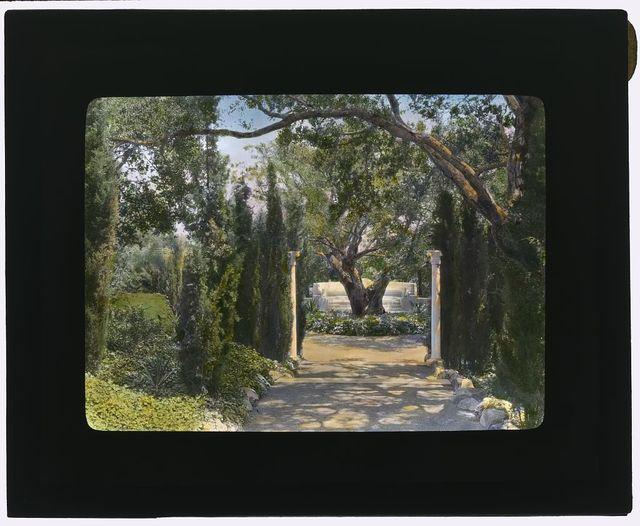 "[""Arcady,"" George Owen Knapp house, Sycamore Canyon Road, Montecito, California. Lower garden, walkway to exedra]"