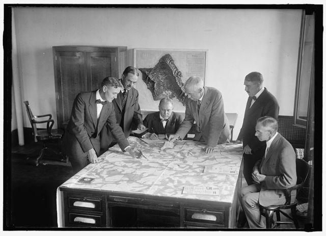 ARMY WAR GAME. LT. COL. D.E. AULTMAN; LT. COL. J.A. SHIPTON; MAJOR L. WAHL; COL. GEORGE H. CAMERON; LT. COL. E D. ANDERSON; LT. COL. HENRY JERVEY