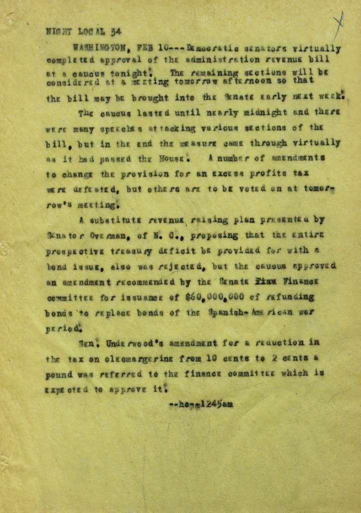 Associated Press, Washington, D.C., Bureau News Dispatches: 1917, Feb. 1-12