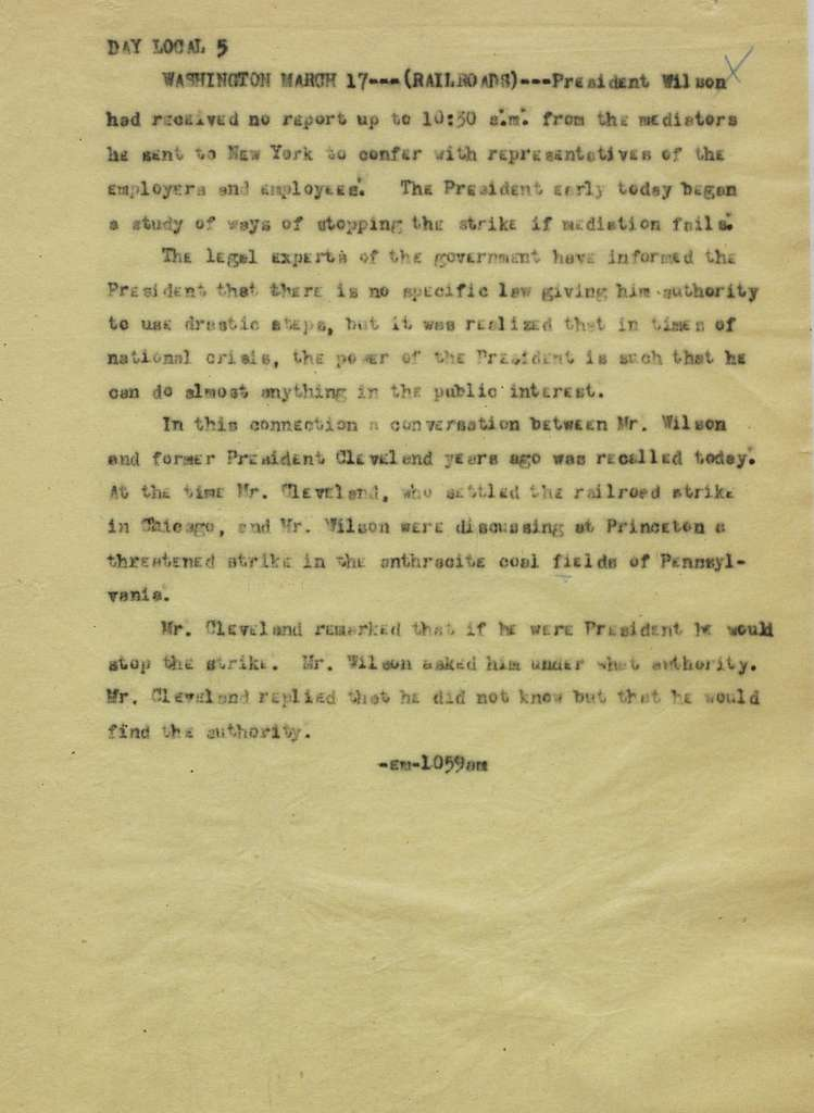 Associated Press, Washington, D.C., Bureau News Dispatches: 1917, Mar. 15-31