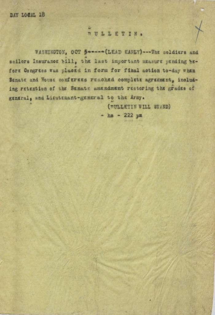 Associated Press, Washington, D.C., Bureau News Dispatches: 1917, Oct. 1-15