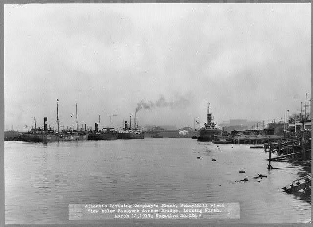 Atlantic Refining Company's plant, Schuylkill River, view below Passyunk Avenue Bridge, looking North, March 12, 1917