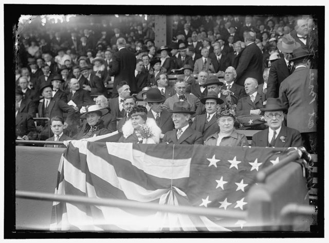 BASEBALL, WILSON AT BALL GAME; GRAYSON, CARY T., DR., U.S.N., CHESLEY, MRS. WILLOUGHBY S.,
