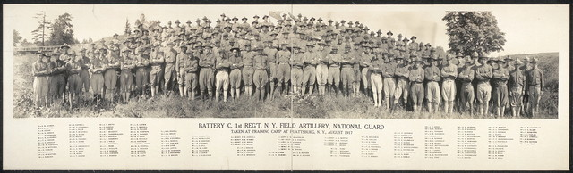 Battery C, 1st Reg't., N.Y. Field Artillery, National Guard; taken at training camp at Plattsburg [sic], N.Y., August 1917