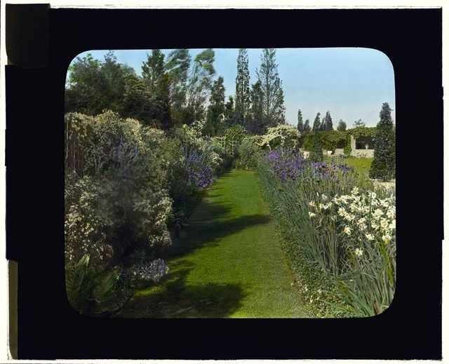 "[""Beacon Hill House,"" Arthur Curtiss James house, Beacon Hill Road, Newport, Rhode Island. Blue Garden, flower border]"