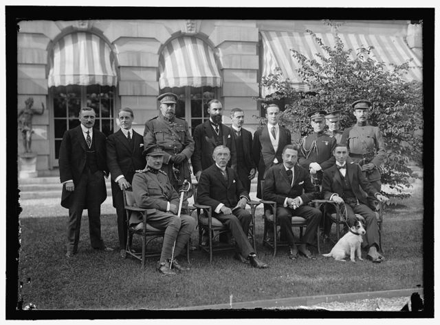 BELGIAN MISSION TO U.S. AT HOME OF LARS ANDERSON. SEATED: MAJ. GEN. MATHIEW LeCLERCE; BARON MONCHEUR; EDE CARTIER DeMARCHIENNE, MISSION TO U.S. HUGH GIBSON OF STATE DEPARTMENT. STANDING: M. DeMERTENS, ONE OF SECRETARIES OF MISSION; MAJ. OSTERRIETH; HECTOR CARLIER; A SECRETARY OF THE [...]