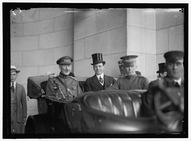 BELGIAN MISSION TO U.S. IN AUTO: MAJ. GEN. MATHIEU LeCLEREQ; WILLIAM PHILLIPS OF STATE DEPARTMENT; CAPT. T. C. COOK, U.S.A.
