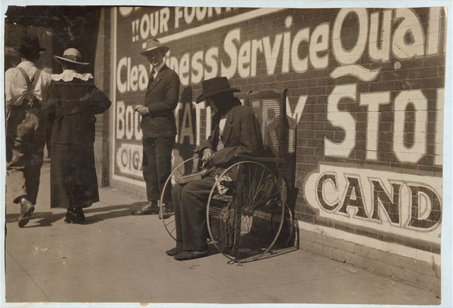Blind beggar.  Location: Lawton, Oklahoma. / L.W. Hine.