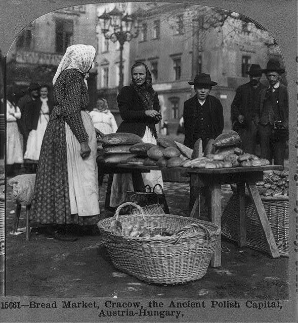 Bread market, Cracow, the ancient Polish capital, Austria-Hungary